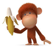 The monkey with banana Royalty Free Stock Images