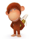 The monkey with banana Stock Photography