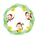 Monkey And Banana On Circle Frame Royalty Free Stock Photo