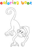 Monkey with a banana. Coloring book for kids about New Year Stock Photo
