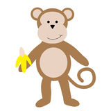 Monkey with Banana Stock Image