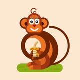 Monkey with banana. Flat style vector character illustration of funny smiling monkey with banana Stock Image