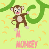 Monkey Banana fun cartoon. Design for website, company, shirt, travel, industry,drawing book Stock Photos