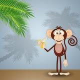 Monkey with banana. An illustration of Monkey with banana Stock Photo