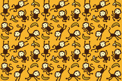 Monkey and banana pattern Stock Images