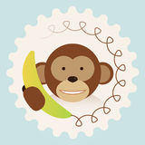 Monkey with banana-phone - call center support. 2016 new year china fun humor Stock Photo