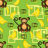 Monkey and banana seamless Stock Photo