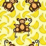 Monkey and banana seamless pattern Royalty Free Stock Photography