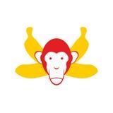 Monkey and bananas. Chimpanzee head and crossed bananas.  Royalty Free Stock Images