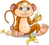 The monkey with bananas. The monkey who eats banana stock illustration