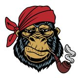 Monkey in a bandana with a smoking pipe. royalty free illustration