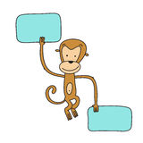 Monkey with banner Stock Photo