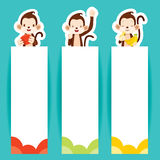 Monkey With Banners Set Stock Photography