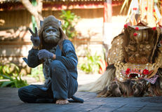 Monkey and Barong Royalty Free Stock Image