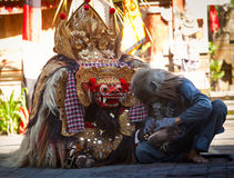 Monkey and Barong Royalty Free Stock Images