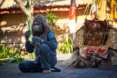 Monkey and Barong Royalty Free Stock Photography