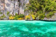 Monkey bay in Phi Phi island . Phuket . Thailand stock images