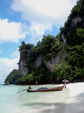 Monkey Beach, PhiPhi Island. Longtail Boat - Monkey Beach, Koh PhiPhi Island, Thailand stock images
