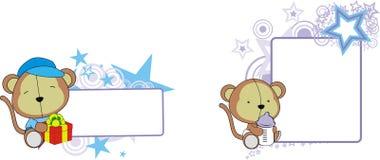 Monkey bear cute baby cartoon copyspace Stock Photo