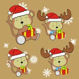 Monkey bear cute cartoon xmas claus costume set Stock Image