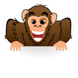 Monkey behind white board Royalty Free Stock Photography