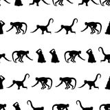 Monkey black shadows silhouette in lines pattern Stock Photos