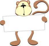 Monkey with blank board. Dim monkey with blank board for copy space Stock Photography