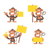 Monkey and blank placard Royalty Free Stock Photo