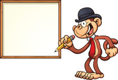 Monkey with board Royalty Free Stock Photo