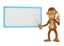 Monkey and board Stock Photo