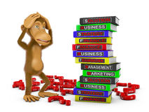 Monkey and  books Stock Image