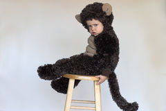 Monkey Boy. Image of cute toddler wearing a monkey costume Stock Photos