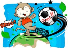 Monkey boy enter the field of kick soccer Royalty Free Stock Image