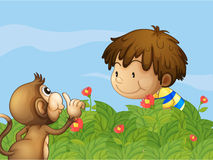 A monkey and a boy talking at the garden. Illustration of a monkey and a boy talking at the garden Stock Photo