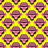 Monkey with brain pattern seamless. Gorilla with brains background. Vector texture.  royalty free illustration