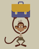 Monkey with a briefcase Royalty Free Stock Photo