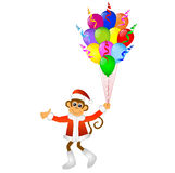 Monkey with bright balloons Stock Image