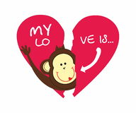 Monkey and broken heart Stock Images