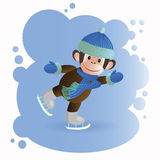 Monkey in brown overalls skating Stock Images