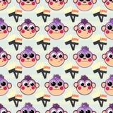 A monkey and a brush. seamless pattern Stock Photo