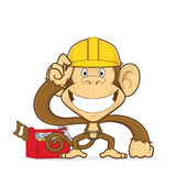 Monkey builder. Clipart picture of a monkey builder cartoon character stock illustration