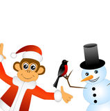 Monkey with bullfinches and snowman Royalty Free Stock Image