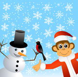 Monkey with bullfinches and snowman Stock Photography