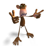 Monkey Business. Render of a funny Toon Monkey with Clipping Path Stock Photography