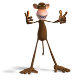 Monkey Business. Render of a funny Toon Monkey with Clipping Path Stock Image