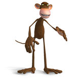 Monkey Business. Render of a funny Toon Monkey with Clipping Path Royalty Free Stock Image