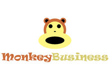 Monkey business logo. A logo with an image of a monkey head and face made of simple geometric shapes in a computer drawing program. It is easy to replicate Royalty Free Stock Photography