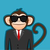 Monkey In Business Man Suit With Black Sunglasses Cartoon Royalty Free Stock Photography