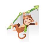 Monkey Business. Playful monkey hanging on the green chart Royalty Free Stock Image