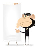 Monkey Businessman Holding A Paper Board. Illustration of A Cartoon White Gorilla Businessman Holding A Paper Board Royalty Free Stock Photography